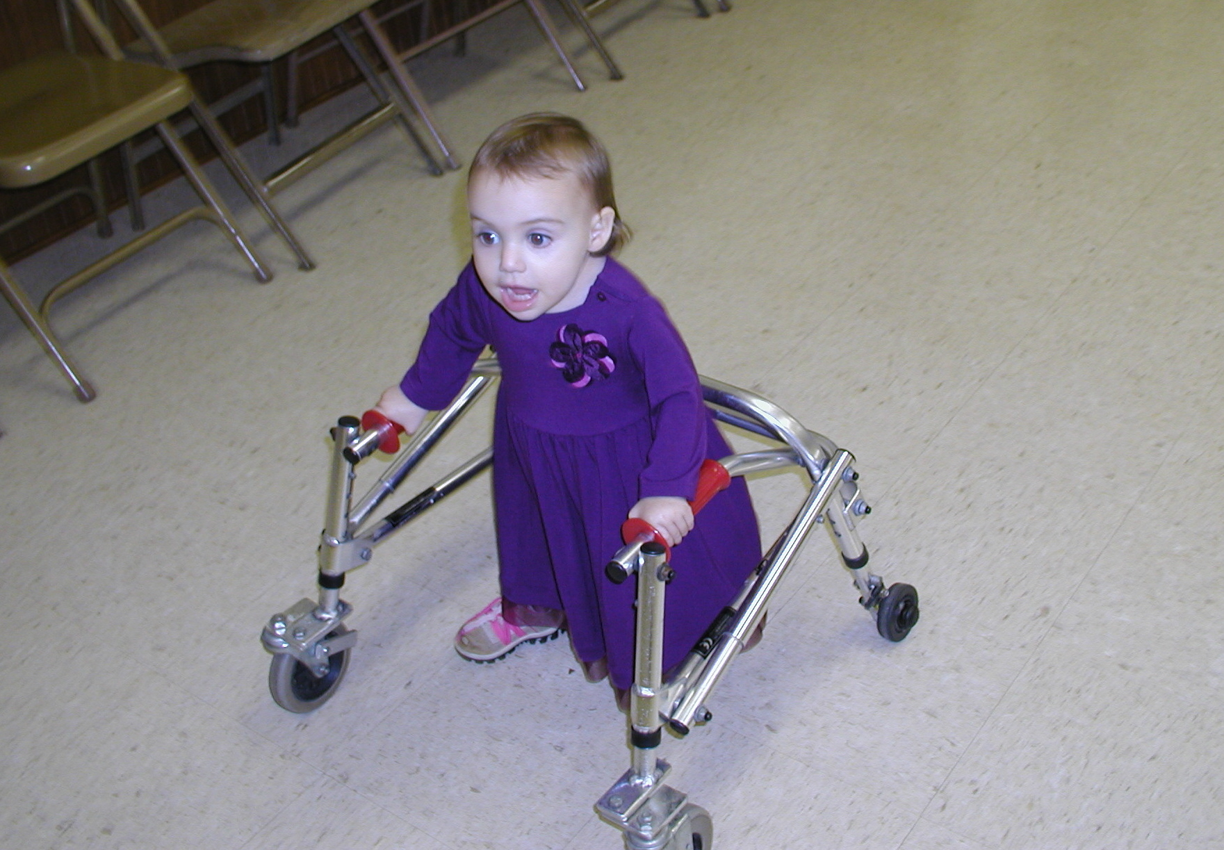 First time in an open space with her walker.